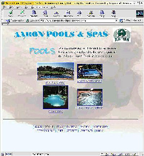 Aaron Pools and Spas  Brochure-type Pool & Spa company website. Background sound effects and images and portfolio manager.