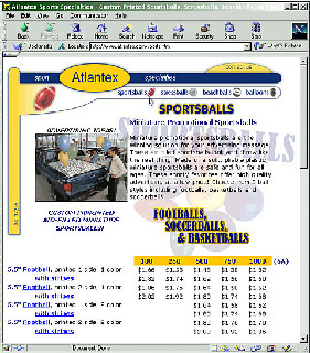 Atlantex Corp.  Manufacturer of printed balloons, balls, etc. with online catalog, pdf index, and adminstration functions.