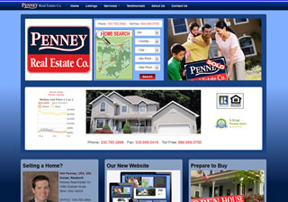 Penney Real Estate  A recent mobile redesign, using responsive design techniques to adapt the site layout to any size device. The site connects to MLS realty databases, and social media applications.