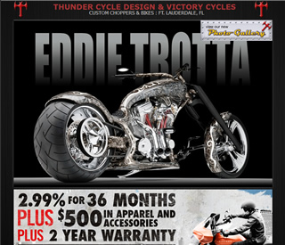 Thunder Cycle Design  Thunder Cycle Designs have been our client for nearly 10 years. Their website has a full featured ecommerce shopping cart application, tons of videos and images, a full custom bike showcase, and lots of information about Eddie Trotta and the Thunder Cycle legacy.